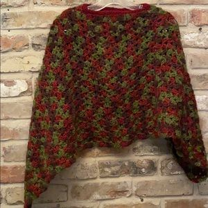 ✨Vintage✨ Crocheted Midriff Poncho Green/Brown/Red